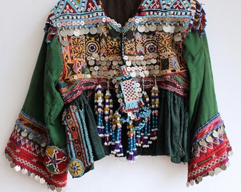 Kuchi tribal gypsy Jacket Vintage 1970's / original Afghani Embroidered Folk Dress / bohemian kuch Goddess