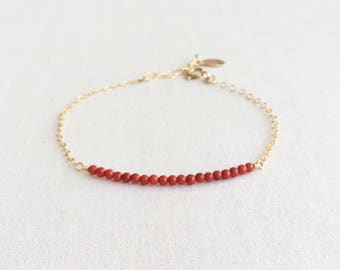 Red Coral Bracelet, Coral Bracelet, Tiny Coral Bracelet, Coral Jewelry, Red Coral, Coral Bead Bracelet, Red Bracelet, Gold Bracelet, GBB33