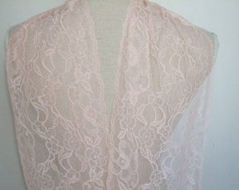 "3 yards light pink french lace trim (N125)/ 8""wide stretchable lace trim by the yard"