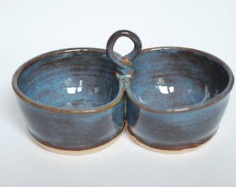 Double bowl, stoneware, serving dish