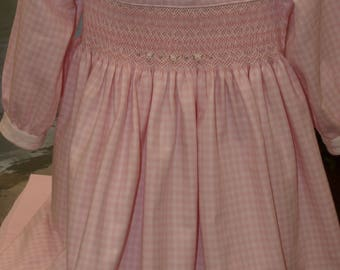 Pink and White Check Winter 100% Cotton Twill Smocked Baby Dress - Size 12 months