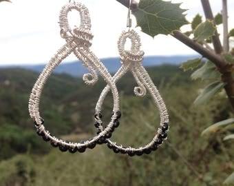 Tear drop wire wrapped earrings