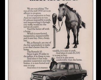 "Vintage Print Ad 1960s : Renault 10 Automobile Car Wall Art Decor 8.5"" x 11"" each Advertisement"