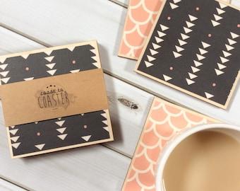 Pink Coasters, Black Coasters, Geometric Coasters, Birthday Gift, Wood Coaster Set, Set of Coasters, Tile Coasters, Square Coasters
