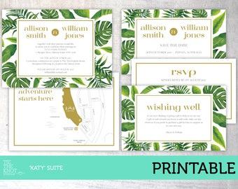 Printable Wedding Invitation Suite | Tropical Leaf Green Invitation Suite | Summer Wedding Invitation Kit | Katy