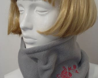 Silver Grey Fleece Cowls, Scarves. Neck warmer with Embroidered Butterfly and Flowers