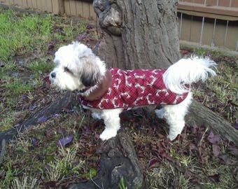 Christmas dog jacket, Holiday dog jacket, Deer dog jacket