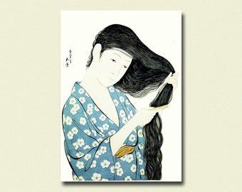 Woman in Blue Combing Her Hair 1920 - Hashiguchi Goyo Print Ukiyo-e Poster Fine Art Print Goyo Poster Japanese Art Housewarming Gift Idea