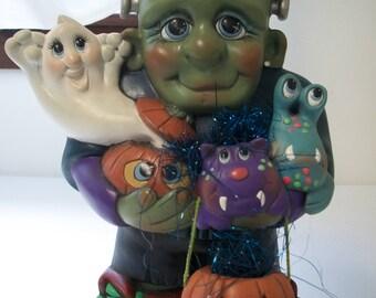 Ceramic Frankenstein,ghost,pumpkin, monsters Halloween decoration