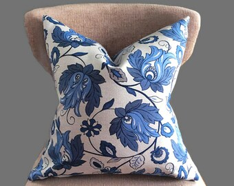 Blue pillow cover, Designer Pillow cover, Cushion covers, Blue Floral Decorative pillow cover, Throw pillow, Decorative pillow, pillow case
