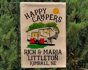 Happy Campers Personalized 5th Wheel Garden Flag, Large Fifth Wheel Campsite Flag, RV Gift, 5th Wheel Camp Sign, Stand not included EYF-089