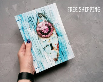 A5 notebook Turquoise Personalize notebook Coptic A5 Sketchbook Blank journal Large travel  journal Travel notebook Large  journal
