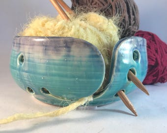 Turquoise and cobalt blue ceramic yarn bowl