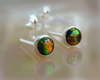 Fire opal stud earrings, 4mm black opal stud earrings, opal posts earring