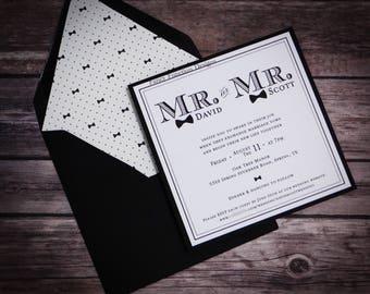 mr invitation bowtie invitation same sex invitation wedding invitation save the - Same Sex Wedding Invitations