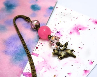 Cute bookmark with pig charm - Pink beaded bookmark for animal lover- Girls bookmark - Vegan bookmark - Tiny unique bookmark
