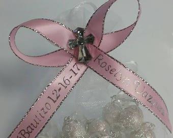 12 Pieces Baptism Customized Favor White Rosaries Organza Bag || 12 Rosarios Blancos Bolsa de Organza Recuerdo Personalizado para Bautizo