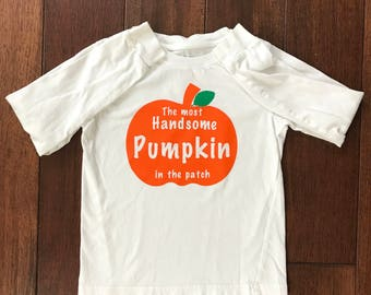 boy fall onesie, boy fall shirt, most handsome pumpkin, cutest pumpkin