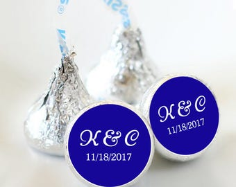 108 Photo Hershey Kiss® Stickers - Hershey Kiss Stickers  - Wedding Hershey Kiss Labels  - Initials and Date - Royal Blue and White