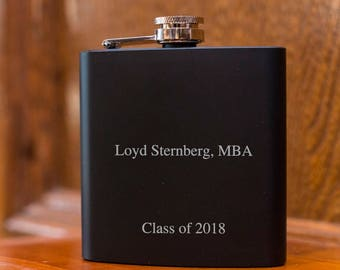 Laser Etched Flask - Personalized Class of 2018 Black Hip Flask - In Gift Box - Graduation Gift - Graduation Gift Idea - Black Flask