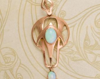 Art Nouveau Rose Gold Opal Pendant, c1910