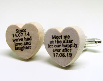Meet Me At The Altar Chunky Wood Personalised Wedding Date Gift Cufflinks Engraved Heart Face