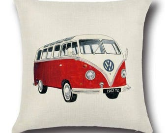Red VW Campervan Vintage Retro Boho Bold Pillow Cushion Cover Linen Cotton Shabby Chic