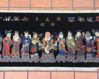 The Eight Immortals Peking Chinese Oriental Rug Hand Knotted Wool Sculpted Figurative Rug Wall Hanging Headboard