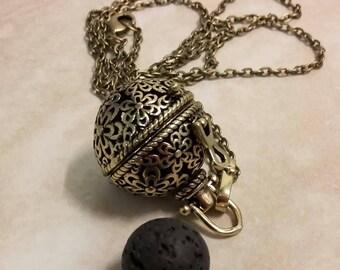 Lava Stone Locket Aromatherapy Essential Oil Diffuser Antique Bronze Necklace 28 Inches