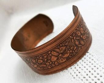 Vintage Solid Copper Embossed Cuff Bracelet