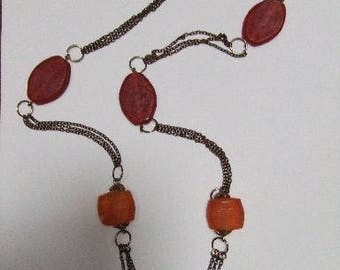 Necklace beads square and oval color gingerbread