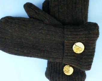 Soft and Warm Brown Wool Mittens. Free shipping!