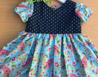 Baby girl denim and paisley tea party dress - size 1