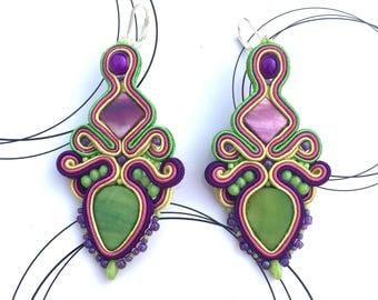 Big Rainbow Earrings, Soutache Earrings, Colorful Soutache, Long Multicolor Earrings, Statement Earrings, Festive Earrings, Beaded Earrings
