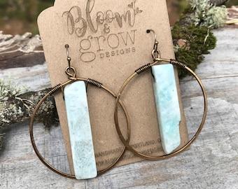 Earrings - Amazonite Hoops