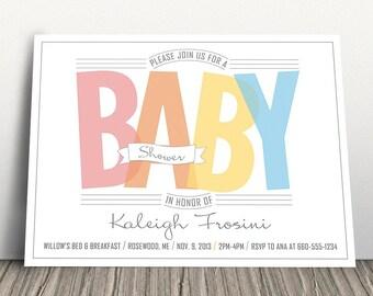 RAINBOW BABY SHOWER Invitation, Gender Neutral Baby Shower Invitation, Baby Shower Invitation for girl, Baby Shower Invitation for boy