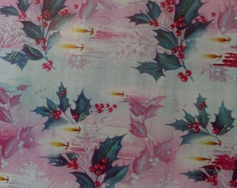 Vintage Christmas Wrapping Paper  ~ scrap booking paper ~ decoupage paper ~ decorative paper ~ Holly Leaves and Candles design