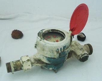 """Vintage Water  Meter - Water meter - Old Measuring Device -Iron Water Meter -Old gadget -Steampunk meter -3/4"""" Water Meter-Heavy water meter"""