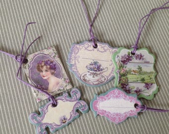 Set of 5 Victorian style gift tags. Set of 27.
