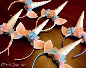 Felt Unicorn Headband with Flowers