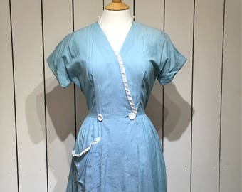 Original 1940's Cotton day dress - Wrapover with a simple Broderie Anglaise trim