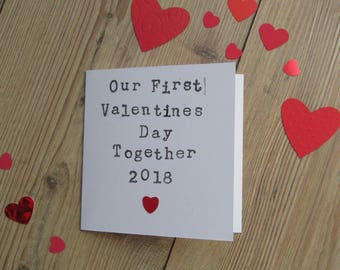 First Valentines Day Together Card, Personalised Valentines Day Card, Valentines Day Card for Boyfriend, Valentines Day Card for Girlfriend