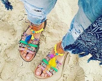 On sale Pom Pom Sandals, Boho Sandals, Greek Leather Sandals, Women gift, Boho Gladiator sandals, Summer sandals, Bohemian sandals,Decora...