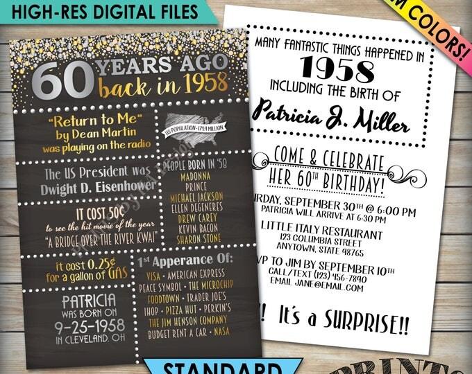 """60th Birthday Invitation, 1958 Invite, Born in 1958 Flashback 60 Years Ago, 60th Invite, PRINTABLE 60th Bday 5x7"""" Chalkboard Style Invite"""