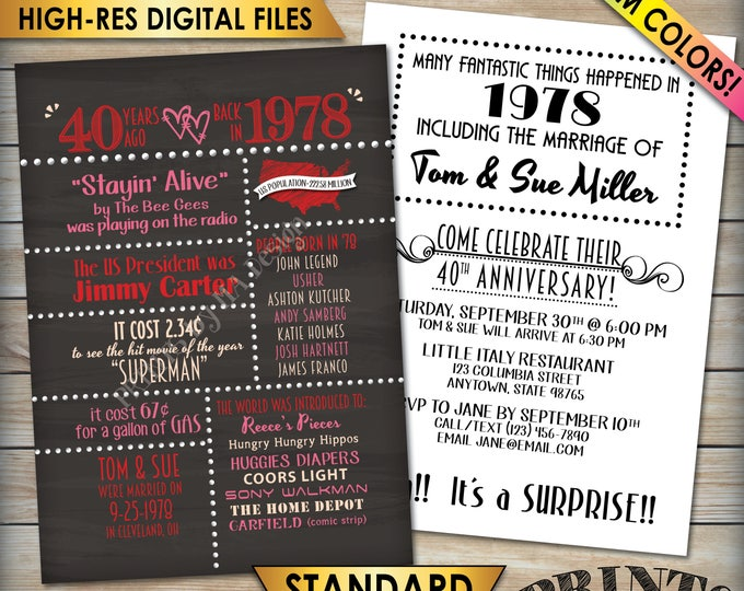 """40th Anniversary Invitation, Married in 1978 Flashback 40 Years Ago 1978 Invite, Chalkboard Style PRITNABLE 5x7"""" 40th Anniversary Invitation"""