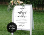 PDF Welcome Sign Calligraphic Unplugged Wedding Unplugged Ceremony Unplugged Sign Instant download sign DIY Printable Sign #DP110_02