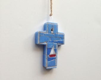 Ocean Sailing Mosaic Wall Cross or Ornament