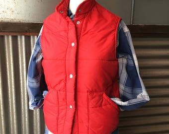 SALE! Vintage LL Bean Red Down Ski Vest S/M