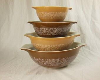 Vintage Pyrex Woodland Cinderella Bowls - Mixing Bowls - Set of Four - Brown & White Earth Tones