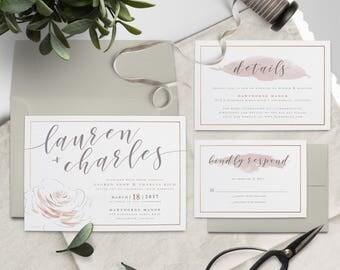 Romantic Blush & Rose Gold Floral Wedding Invitation Suite